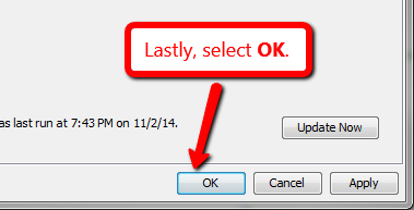 image depicting the ok button