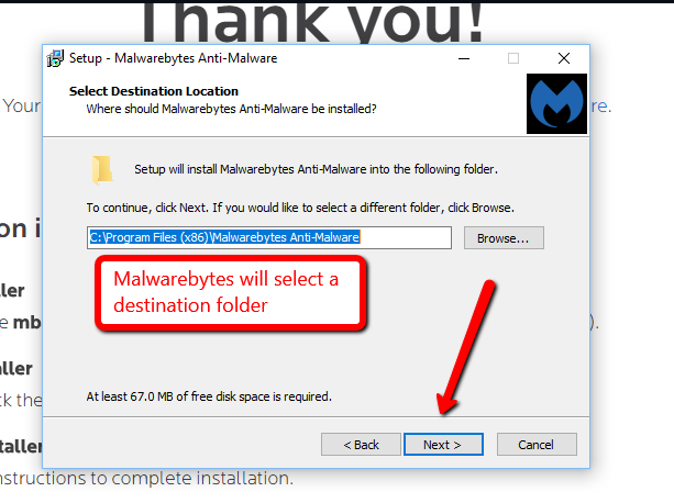image depicting the prompt for selecting a destination folder. This will be selected automatically. Select yes