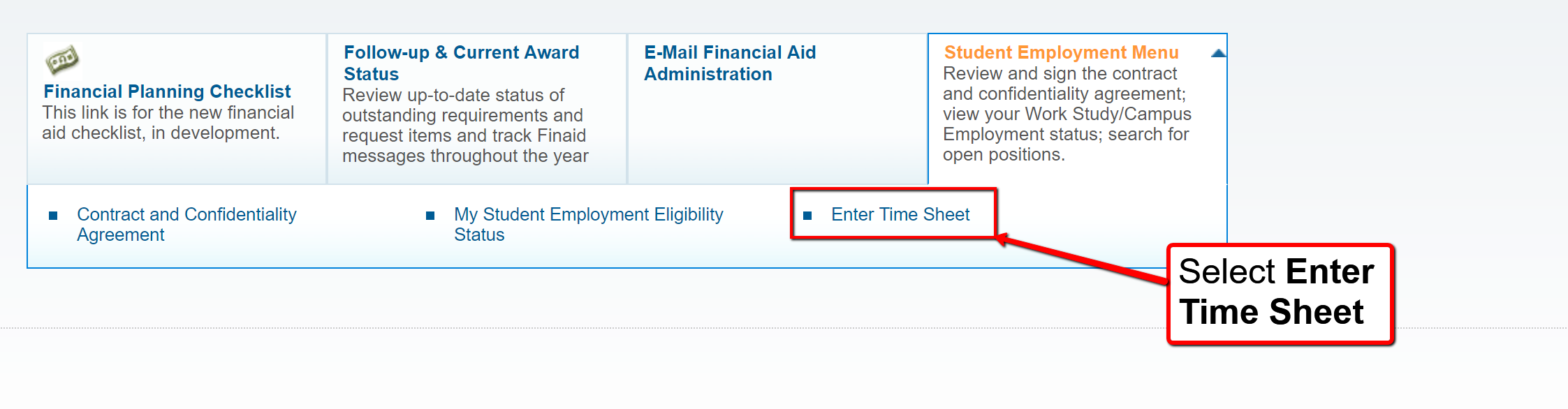 image depicting the option to enter timesheet
