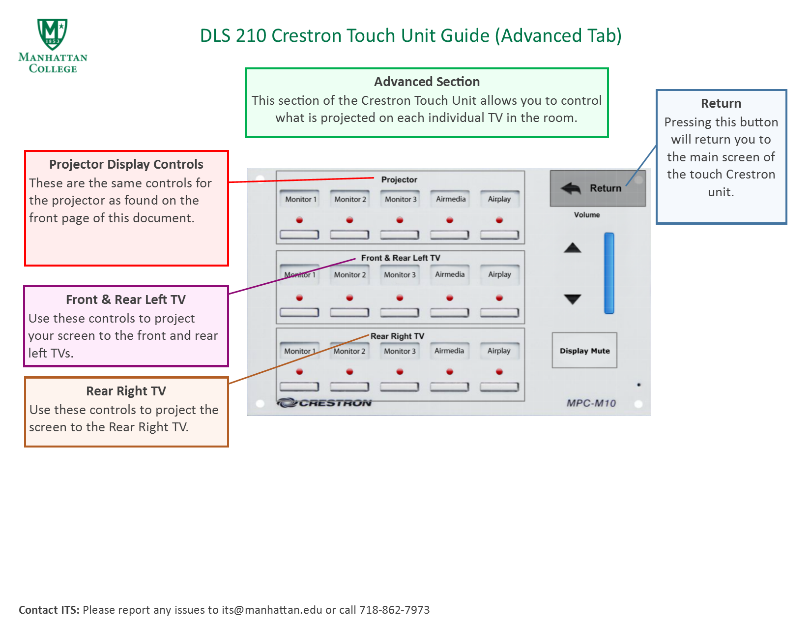 image depicting advanced section of touch crestron podium guides