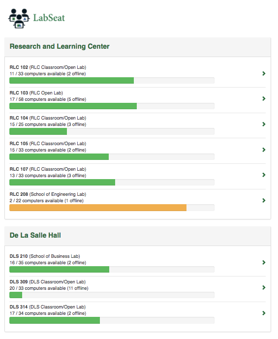 image depicting labseat in research and learning center and de la salle hall