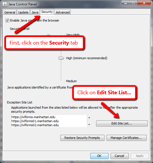 image depicting the edit security option